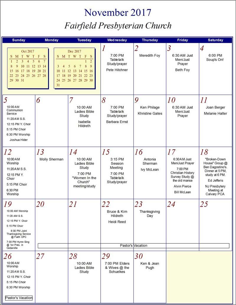 Fairfield Church Calendar