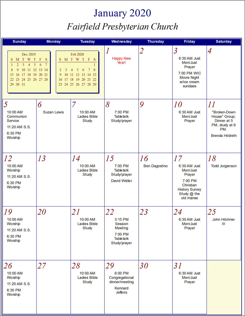 Fairfield Church Calendar