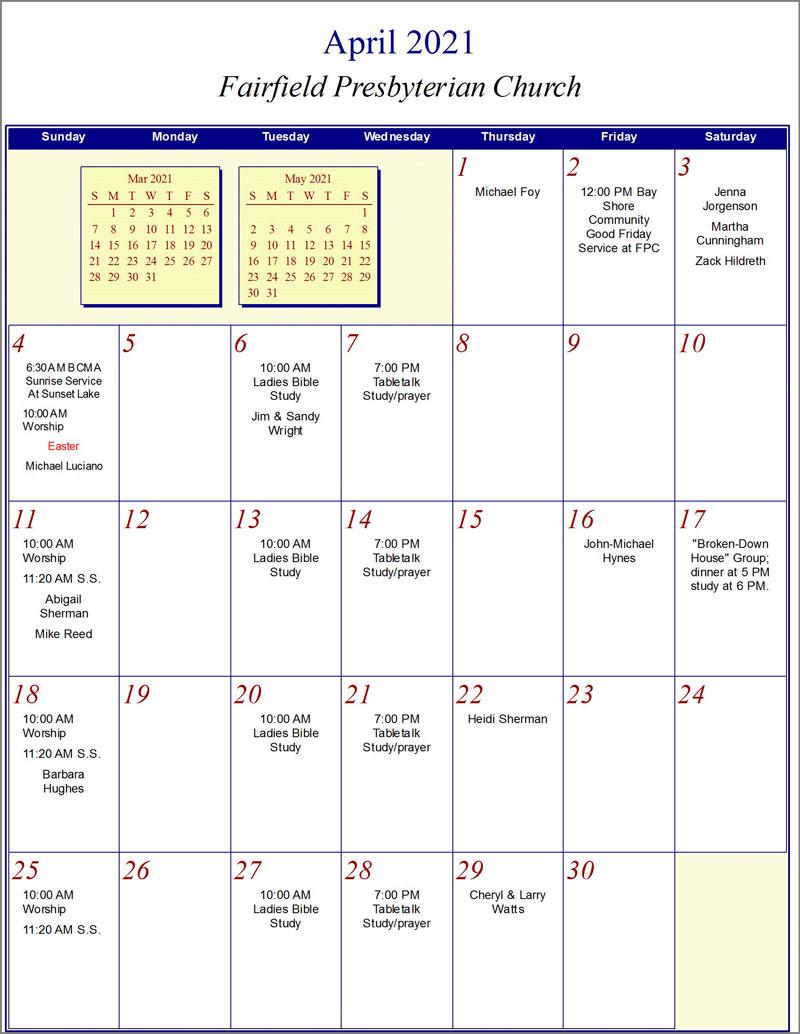 Fairfield Calendar